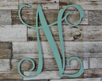 Hand Painted Wooden Monogram, Script Monogram Initials, Nursery Monogram, Wedding Letters,Script Monogram, Baby Name Letters, Single letter