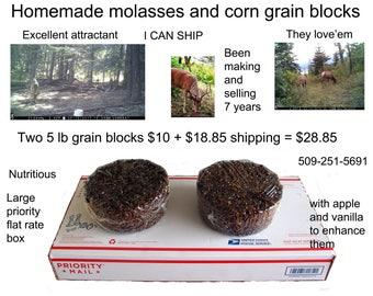 Homemade molasses and corn grain blocks for deer and elk