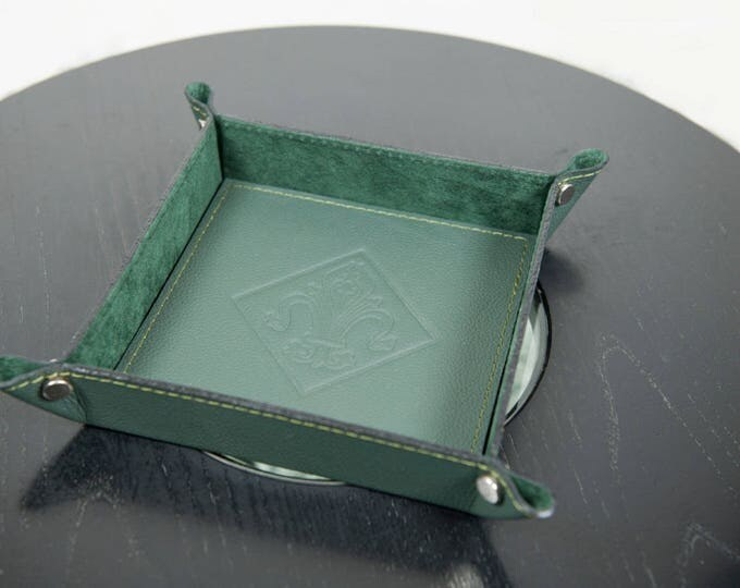 Green Leather Valet Tray