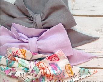 Gorgeous Wrap Trio (3 Gorgeous Wraps)- Platinum, Lavender & Boho Babe Gorgeous Wraps; headwraps; fabric head wraps; bows