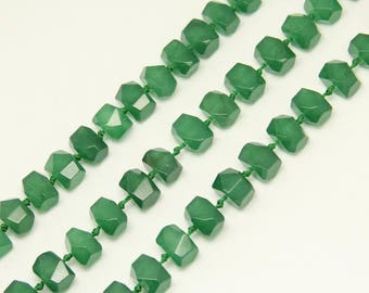 Aventurine Green Jade Faceted Small Nugget Beads Strand Jewelry Making Summer Gift