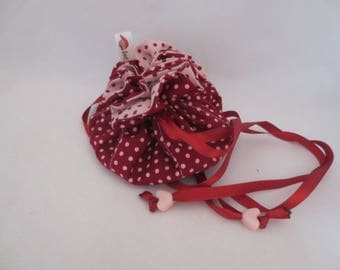 Pink and Burgundy for travels - fabric jewelry bag