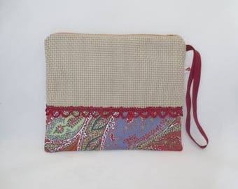 Ecru clutch and floral spring - summer - purse - pouch - with handle