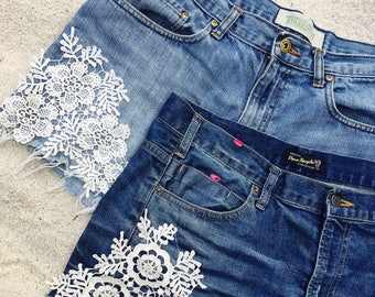 Denim and Lace Distressed Shorts