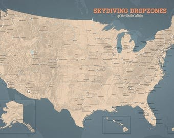 US Skydiving Dropzones Map 24x36 Poster