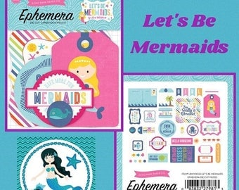 45% OFF 4th Of July Lets Be Mermaids, Under The Sea Inspiration, Ephemera, Die Cut Card Stock, Echo Park