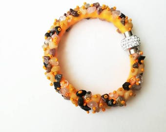 Orange Yellow bracelet gemstone jade quartz rhodonite orange yellow exclusive handmade high quality gift for her, gemstones bracelet gift