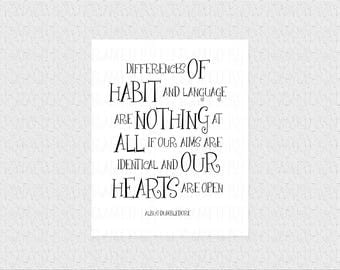 Albus Dumbledore Quote Poster Harry Potter Quote Print Harry Potter Gift Wall Art Decor Differences Of Habit Language Typographic Art 1024