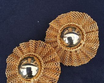 Vintage Gold Mesh Clip-on Earrings