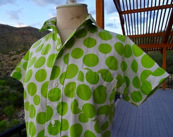St. PATRICKS DAY SHIRT/ 50s Adorable Polka Dot Pop Art Green Shirt/ Retro Cotton Blouse/ 60s Button Down Shirt/Vintage 50s Blouse Green Dots