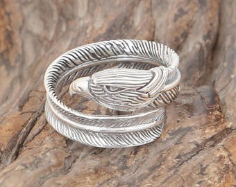 S925 Sterling Silver Takahashi Goro retro exquisite eagle feather ring