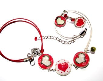 Special Valentine's day hearts necklace and earrings set earrings