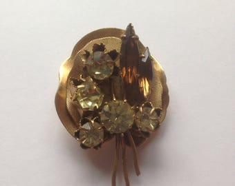 Vintage Flower Brooch, Gold Tone Brooch, Glass Gem Brooch, 1930's Brooch, Vintage Wedding