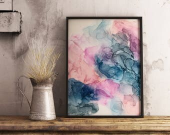 Ethereal 1 Pastel Abstract Alcohol Ink Painting on Yupo
