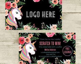 PRINTABLE Scratch Off Cards , Scratch Card , Scratch To Win, Unicorn and Flowers, Digital File LLR031