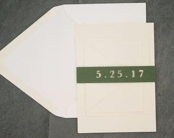 Monogram Wedding Invitation Belly Band / Monogram Wedding Invitation Enclosure - Date Belly Band, Personalized Belly Band, Monogrammed