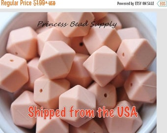 SALE 17mm Peach Hexagon Silicone Teething Beads, Set of 5 or 10, 100% Food Grade Silicone Beads, BPA Free, Sensory Beads, Silicone Loose Bea