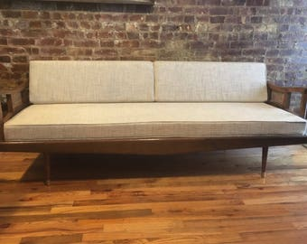 mid century modern minimalist danish daybed sofa couch bed wood frame new upholstery off white woven