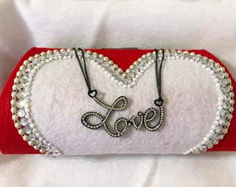 New Red & White Heart VALENTINE'S DAY Love Clutch Purse Handmade Handbag OOAK