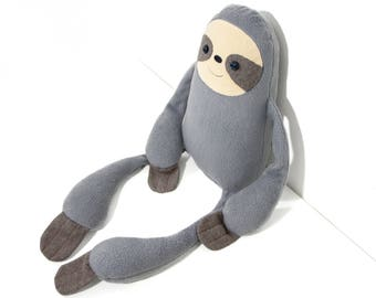 """Stuffed Grey Sloth animal. Plush sloth. Gray sloth. Soft toy sloth named """"Louie"""". Grey smiling toy for hugging. Soft animal with smile."""