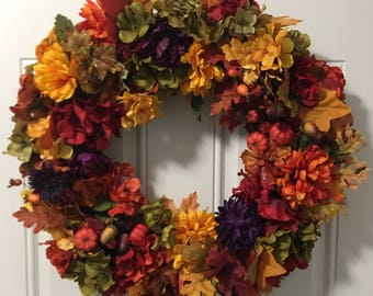 "26"" Fall Harvest Grapevine Wreath New"