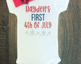 Baby's First 4th Of July Outfit | July 4th Outfit | Baby Girl 4th of July Bodysuit | Baby Sparkle Shirt |