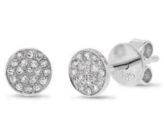 14k White Gold Diamond Pave Stud Earring