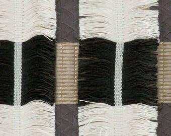 CONTEMPORARY WOVEN EMBROIDERED Stripe Fringe Fabric 5 Yards Black Multi