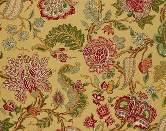 SCHUMACHER JACOBEAN TREE of Life Linen Fabric 10 yards Goldenrod Multi