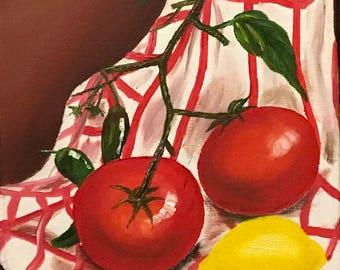 original oil painting tomatoes lemon art one of a kind