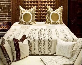 Gold Suzani Pillow Cover, Suzani Boho pillow, Persian pillow,  Indian Abstract Suzani Pillow, Gold Suzani pillow, Decorative pillow