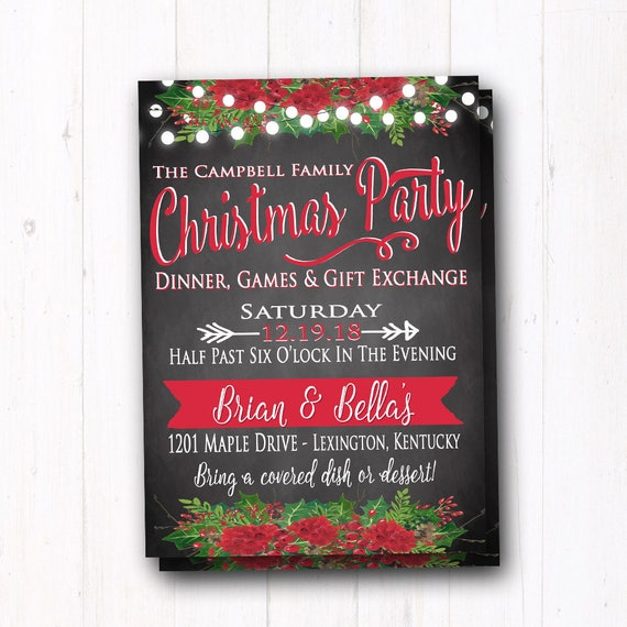 Rustic Christmas Party Invite Holiday Dinner Gift