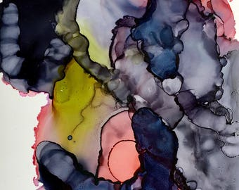 Original art. Abstract alcohol ink art.