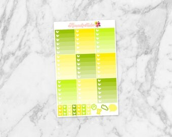 August Ombre Heart Checklists and Mini Heart Checklists | 9 Ombre Heart Checklists Planner Stickers for Erin Condren Life Planners