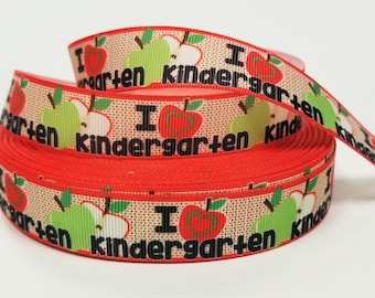 "7/8 "" inch I Love Kindergarten Apples - Teacher Student - Back to School - Printed Grosgrain Ribbon for 7/8 inch  Hair Bow"