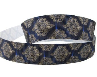 "7/8 inch Pearl Damask on Dark Blue Navy -  Printed Grosgrain Ribbon 7/8"" for Hair Bow"