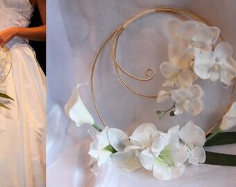 Bouquet de mariée aluminium Fleurs ivoires