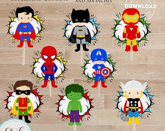 50% OFF SALE Superhero Centerpiece, Superhero Table Centerpiece, Superhero Cake Topper, Cupcake toppers, Birthday Party Supplies, Wall Decor