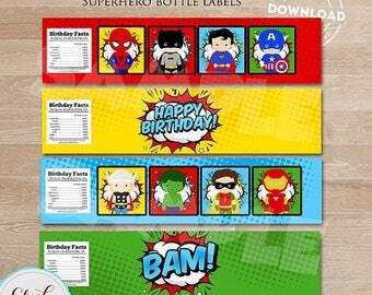 50% OFF SALE Superhero Bottle Water Labels, Super hero, Superheroes Water Labels,  wrappers, Birthday party decorations, Party supplies, INS