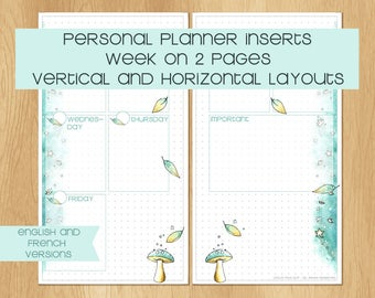 Watercolor Personal Sized Inserts with Winter Theme, 1 Week on 2 Pages, Vertical or Horizontal Layout - English and French