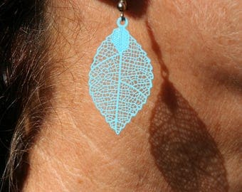Turquoise metal feather earrings
