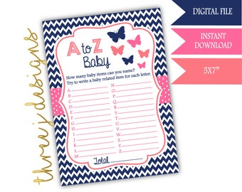 Butterfly Baby Shower A to Z Baby Game - INSTANT DOWNLOAD - Navy Blue, Pink and Coral - Digital File - J003