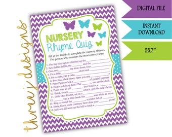 Butterfly Baby Shower Nursery Rhyme Game - INSTANT DOWNLOAD - Purple, Teal, and Green - Digital File - J006