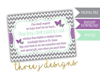 Butterfly Baby Shower Books for Baby Cards - INSTANT DOWNLOAD - Gray, Lavender and Mint - Digital File - J005