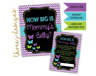 Butterfly Baby Shower How Big Is Mommy's Belly Game Cards and Sign - INSTANT DOWNLOAD - Purple Teal and Green - Digital File - J006