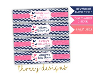 Butterfly Baby Shower Personalized Water Bottle Labels - Navy Blue, Pink and Coral - Digital File - J003
