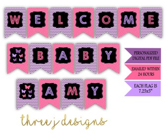 Butterfly Baby Shower Personalized Welcome Baby Banner - Purple and Pink - Digital File - J002