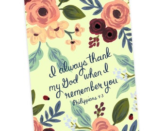 I Always Thank My God When I remember You Philippians 1:3, Jehovah's Witnesses, JW Greeting Card, JW Gift, Friendship, Christian Card
