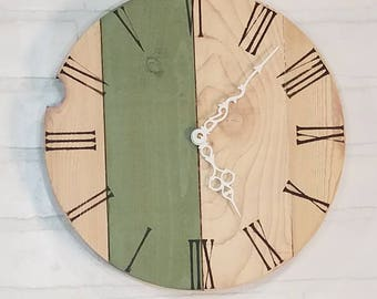 Round Wall Clock - White with Green Stripe