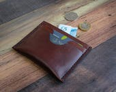 Leather Card Wallet with Notes Compartment, Leather Card Holder, Minimalist Wallet, Groomsmen Gift, Wedding Anniversary Gift